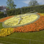 Clock made of flowers in Geneva