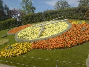 Clock made of flowers in Geneva