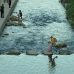 Stepping stones over river in Seoul
